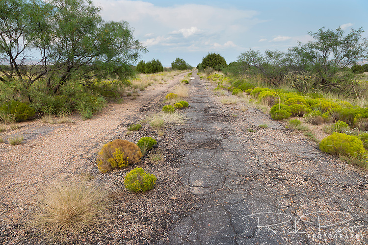 An abandoned section of Route 66 roadbed between Newkirk and Montoya, New Mexico.