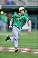 Notre Dame Fighting Irish second baseman Nick Podkul (7) runs to first base base during a game against the Clemson Tigers at Doug Kingsmore Stadium on March 11, 2017 in Clemson, South Carolina. The Tigers defeated the Fighting Irish 6-5. (Tony Farlow/Four Seam Images)