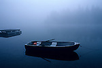 Row boat on Lake Mason, sunrise in fog, Olympic Penninsula, Washington State USA.