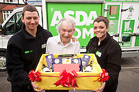 92 year old Arthur Lloyd of West Bridgford, ASDA.com's oldest online shopper was delighted to receive a celebratory hamper on his birthday from ASDA Section Leaders Jamie Wigfield and Sara Crocker