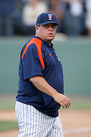 Dave Serrano, head coach of the Cal.St. Fullerton Titans, during game against the UCLA Bruins at Jackie Robinson Stadium in Los Angeles,California on June 12, 2010. Photo by Larry Goren/Four Seam Images