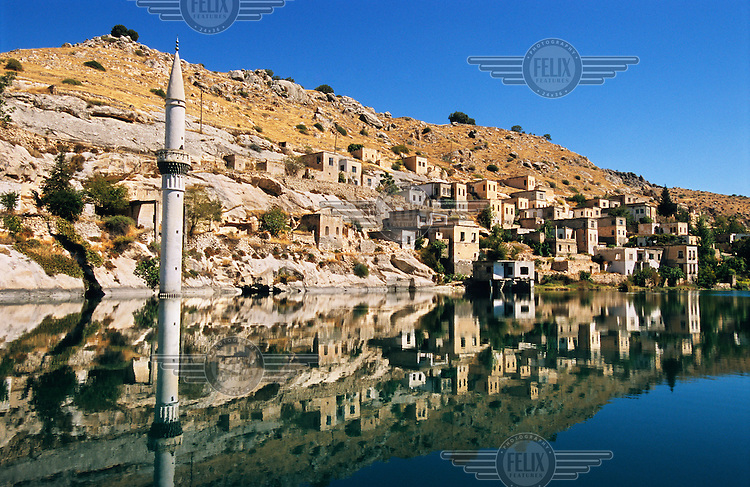 This village near Halfeti was flooded by the construction of the Birecik Dam on the Euphrates river. This dam is part of the Southeast Anatolia Development Project (GAP).