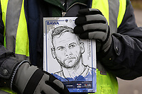 Oldham Athletic fan holds up match programme ahead of the Sky Bet League 1 match between Oldham Athletic and Bristol Rovers at Boundary Park, Oldham, England on 30 December 2017. Photo by Juel Miah / PRiME Media Images.