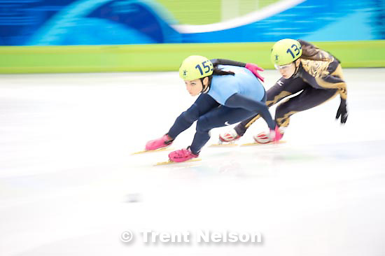 Trent Nelson  |  The Salt Lake Tribune.Ladies' 1500m, Short Track Speed Skating, at the XXI Olympic Winter Games in Vancouver, Saturday, February 20, 2010. heat 6 Lee Eun-Byul (140, kora), Hiroko Sadakane (japan, 134), Marina Georgieva-Nikolova (103), Allison Baver (153, USA), Aika Klein (120), Rozsa Darazs (122)