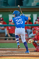 Zac Ching (25) of the Ogden Raptors at bat against the Orem Owlz at Lindquist Field on September 3, 2019 in Ogden, Utah. The Raptors defeated the Owlz 12-0. (Stephen Smith/Four Seam Images)