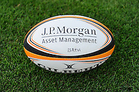 20130801 Copyright onEdition 2013 ©<br /> Free for editorial use image, please credit: onEdition.<br /> <br /> JP Morgan branding on the match ball before the J.P. Morgan Asset Management Premiership Rugby 7s Series.<br /> <br /> The J.P. Morgan Asset Management Premiership Rugby 7s Series kicks off for the fourth season on Thursday 1st August with Pool A at Kingsholm, Gloucester with Pool B being played at Franklin's Gardens, Northampton on Friday 2nd August, Pool C at Allianz Park, Saracens home ground, on Saturday 3rd August and the Final being played at The Recreation Ground, Bath on Friday 9th August. The innovative tournament, which involves all 12 Premiership Rugby clubs, offers a fantastic platform for some of the country's finest young athletes to be exposed to the excitement, pressures and skills required to compete at an elite level.<br /> <br /> The 12 Premiership Rugby clubs are divided into three groups for the tournament, with the winner and runner up of each regional event going through to the Final. There are six games each evening, with each match consisting of two 7 minute halves with a 2 minute break at half time.<br /> <br /> For additional images please go to: http://www.w-w-i.com/jp_morgan_premiership_sevens/<br /> <br /> For press contacts contact: Beth Begg at brandRapport on D: +44 (0)20 7932 5813 M: +44 (0)7900 88231 E: BBegg@brand-rapport.com<br /> <br /> If you require a higher resolution image or you have any other onEdition photographic enquiries, please contact onEdition on 0845 900 2 900 or email info@onEdition.com<br /> This image is copyright the onEdition 2013©.<br /> <br /> This image has been supplied by onEdition and must be credited onEdition. The author is asserting his full Moral rights in relation to the publication of this image. Rights for onward transmission of any image or file is not granted or implied. Changing or deleting Copyright information is illegal as specified in the Copyright, Design and Patents Act 1988. If you are in any way unsure of your right to publish this image please contact onEdition on 0845