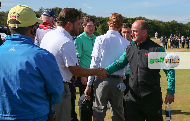Match 3 conceded and GB&amp;Ireland win 3 points making Nigel Edwards  a happy captain during Sunday morning Foursome matches of The Walker Cup 2015 played at Royal Lytham and St Anne's, Lytham St Anne's, Lancashire, England. 13/09/2015. Picture: Golffile | David Lloyd<br /> <br /> All photos usage must carry mandatory copyright credit (&copy; Golffile | David Lloyd)