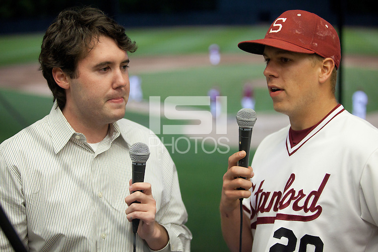 STANFORD, CA - April 12, 2011: Elliott Byers of Stanford baseball talks to Stanford's webcast team after Stanford's game against Pacific at Sunken Diamond. Stanford won 3-1.