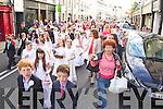 The Corpus Christi Procession leaving Saint John's Church on Saturday evening.