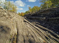 Glacial polish and deep grooves scoured into Devonian age limestone by forces of the Wisconsin Glacier. Glacial Grooves State Memorial, Kelleys Island (Lake Erie), Ohio, USA. A National Natural Landmark.