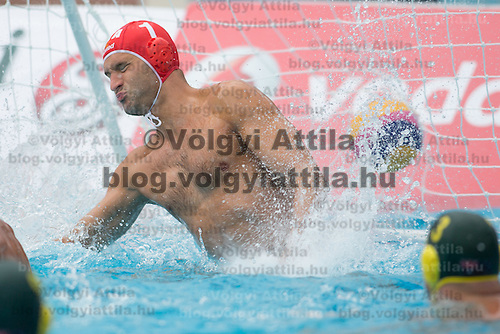 Goalkeeper Stefano Tempesti (C) of Italy fails to save a goal during the Vodafone Waterpolo Cup in Budapest, Hungary on July 15, 2012. ATTILA VOLGYI