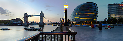 City Hall and Tower Bridge at dawn, London, Uk