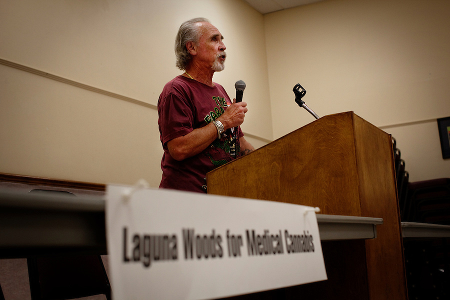 Laguna Woods, California, November 3, 2010 - Lonnie Painter, Chairman of to Laguna Woods Village for Medical Cannabis, a collective of about 100 members that operates as a dispensary for medical marijuana, speaks to members of Village Cannabis, a sister organization that meets each month to educate residents about the use of medical marijuana. ..
