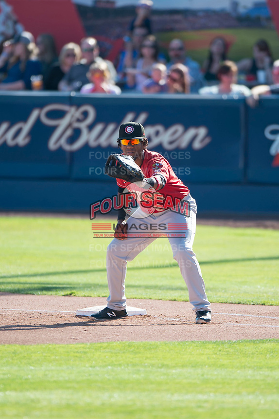 Vancouver Canadians first baseman Sterling Guzman (2) during a Northwest League game against the Spokane Indians at Avista Stadium on September 2, 2018 in Spokane, Washington. The Spokane Indians defeated the Vancouver Canadians by a score of 3-1. (Zachary Lucy/Four Seam Images)