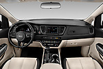 Stock photo of straight dashboard view of 2019 KIA Sedona EX 5 Door Minivan Dashboard