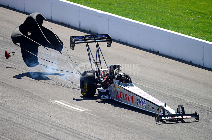 Sept. 29, 2012; Madison, IL, USA: NHRA top fuel dragster driver Chris Karamesines during qualifying for the Midwest Nationals at Gateway Motorsports Park. Mandatory Credit: Mark J. Rebilas-