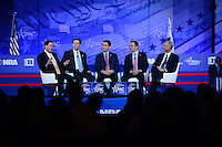 """National Harbor, MD - February 23, 2017: Governors Matt Bevin of Kentucky, Sam Brownback of Kansas, Doug Ducey of Arizona and Scott Walker of Wisconsin, participate in the """"States vs The State: How Governors are reclaiming America's Promise"""" forum moderated by Richard Graber during the Conservative Political Action Conference at the Gaylord Hotel in National Harbor, MD, February 23, 2017.  (Photo by Don Baxter/Media Images International)"""