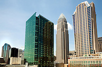The new One Bank of America Center, a 700,000 square foot office tower encompassing 32 floors located on the corner of College and 5th Streets across from its corporate headquarters.