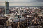 © Joel Goodman - 07973 332324 . 07/12/2013 . Beetham Tower (left), Manchester Town Hall (right) and Fiddlers Ferry coal fired and biomass power station in Cuerdley , Cheshire on the horizon . Cityscape view of Manchester . Photo credit : Joel Goodman
