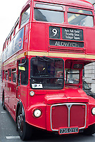 Routemaster double decker bus operating on heritage route 9 between Royal Albert Hall and Aldwych, London, England