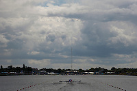 29.07.2012. Windsor, England. The Canadian Womens Eight prepare at the start during the Rowing on Day 2 of the London 2012 Olympic Games at the Olympic Rowing Centre at Eton Dorney.