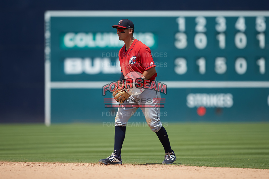 Columbus Clippers second baseman Mark Mathias (23) on defense against the Durham Bulls at Durham Bulls Athletic Park on June 1, 2019 in Durham, North Carolina. The Bulls defeated the Clippers 11-5 in game one of a doubleheader. (Brian Westerholt/Four Seam Images)