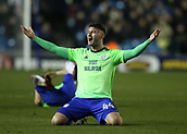 9th February 2018, The Den, London, England; EFL Championship football, Millwall versus Cardiff City; Gary Madine of Cardiff City shouting in disappointment after being fouled