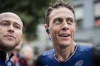 Niki Terpstra (NED/Etixx-QuickStep) receives the message he won the overall after finishing 2nd in the final stage<br /> <br /> 12th Eneco Tour 2016 (UCI World Tour)<br /> Stage 7: Bornem › Geraardsbergen (198km)