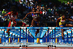GUADALAJARA, MEXICO - OCTOBER 25:  Briggitte Merlano of Columbia competes in the Women's 100M Hurdles Semifinals during the Athletics Competition on Day Eleven of the XVI Pan American Games on October 25, 2011 in Guadalajara, Mexico.  (Photo by Donald Miralle for Mexsport) *** Local Caption ***