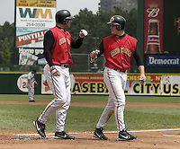 May 16, 2004:  Michael Restovich (41) and Justin Morneau (33) of the Rochester Red Wings, Triple-A International League affiliate of the Minnesota Twins, celebrate Morneau's home run during a game at Frontier Field in Rochester, NY.  Photo by:  Mike Janes/Four Seam Images