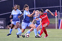 Piscataway, NJ - Saturday June 3, 2017: Raquel Rodriguez, Nadia Nadim, Leah Galton during a regular season National Women's Soccer League (NWSL) match between Sky Blue FC and the Portland Thorns at Yurcak Field.  Portland defeated Sky Blue, 2-0.