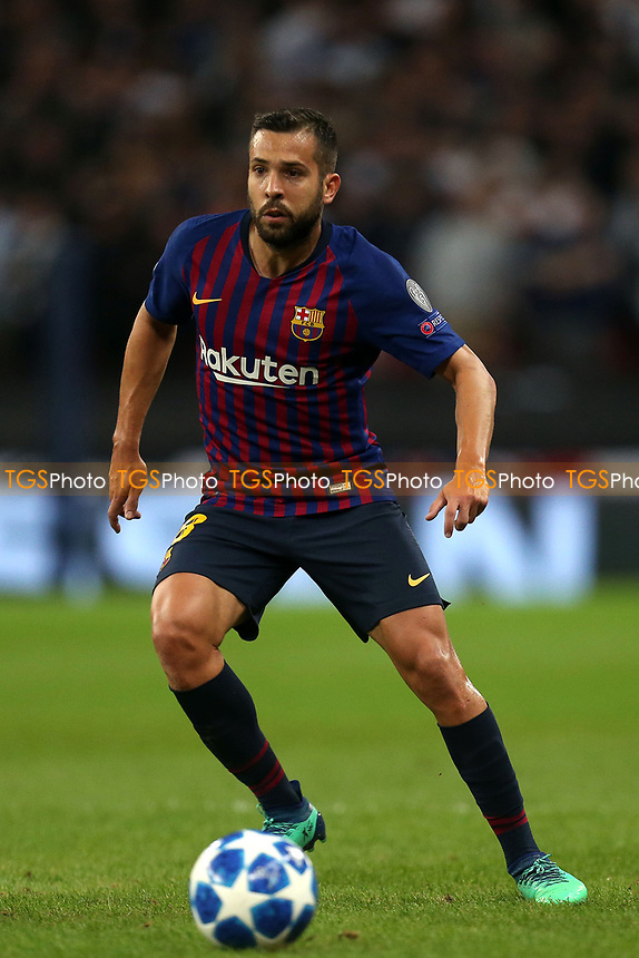 Jordi Alba of FC Barcelona during Tottenham Hotspur vs FC Barcelona, UEFA Champions League Football at Wembley Stadium on 3rd October 2018