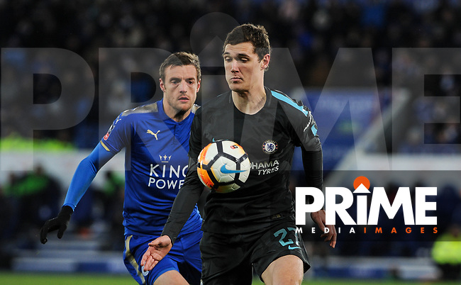 Andreas Christensen of Chelsea moves from Jamie Vardy of Leicester City during the FA Cup QF match between Leicester City and Chelsea at the King Power Stadium, Leicester, England on 18 March 2018. Photo by Stephen Buckley / PRiME Media Images.