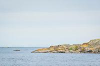Klippa vid havet med horisont på Söderö i Stockholms skärgård.