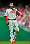 13 April 2009: Philadelphia Phillies' first baseman Ryan Howard looks back to the dugout between innings during the Washington Nationals' Home Opener at Nationals Park in Washington, DC. The Nats fell short in their 9th inning rally, losing 9-8, as the visiting Phillies handed the Nats their 7th consecutive loss of the 2009 season. Mandatory Credit: Ed Wolfstein Photo