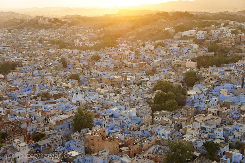 Jodhpur, blue city, viewed from Fort Mehrangarh  at sunset time, Rajastan, India