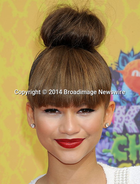 Pictured: Zendaya Coleman<br /> Mandatory Credit &copy; Gilbert Flores/Broadimage<br /> Nickelodeon Kids' Choice Awards 2014<br /> <br /> 3/29/14, Los Angeles, California, United States of America<br /> <br /> Broadimage Newswire<br /> Los Angeles 1+  (310) 301-1027<br /> New York      1+  (646) 827-9134<br /> sales@broadimage.com<br /> http://www.broadimage.com