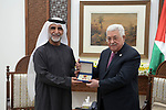 "Palestinian president Mahmoud Abbas honors the actors of the Emirates series of ""Betrayal of Homeland"", at Abbas's headquarter in the West Bank city of Ramallah, March 10, 2019. Abu Dhabi TV's ""Betrayal of Homeland"" series has ranked first in television viewership by the Annual Gulf Ramadan Drama during Ramadan in 2016, with 72 percent of Emiratis having watched the show. Photo by Thaer Ganaim"