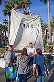 "Marcus Eriksen talks to students in front of the ""Junk"" raft at the Plastics are Forever Youth Summit - March 11, 2011. The Summit brought over 130 students and teachers from around the world to work together to find solutions to plastic pollution and toxicity. Hotel Maya, Long Beach, California"
