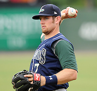 Infielder Mike Kvasnicka (7) of the Lexington Legends, Class A affiliate of the Houston Astros, prior to a game against the Greenville Drive on August 5, 2011, at Fluor Field at the West End in Greenville, South Carolina. Kvasnicka was a first-round supplemental pick (No. 33 overall) of the Astros in the 2010 First-Year Player Draft. (Tom Priddy/Four Seam Images)