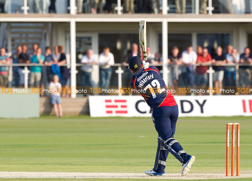 Hamish Rutherford,  Essex Eagles goes big in front of an appreciative crowd at Canterbury - Kent Spitfires v Essex Eagles at St Lawrence Ground, Canterbury, Kent, - T20 Friends Life Cricket - 05/07/13 - MANDATORY CREDIT: Ray Lawrence/TGSPHOTO - Self billing applies where appropriate - 0845 094 6026 - contact@tgsphoto.co.uk - NO UNPAID USE