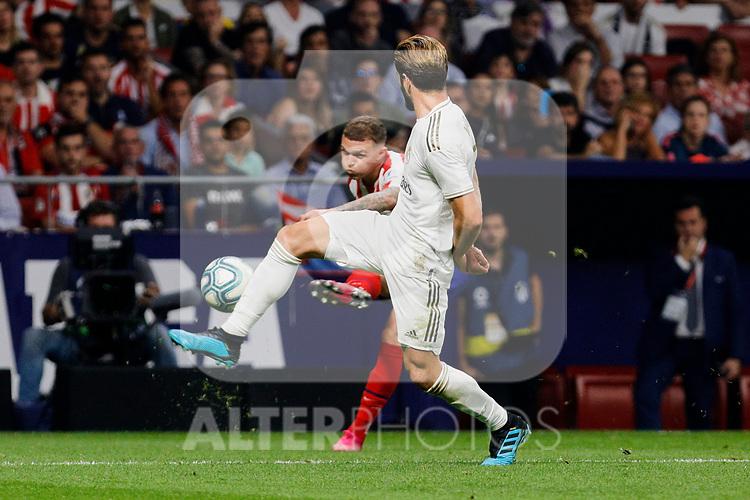 Kieran Trippier of Atletico de Madrid and Nacho Fernandez of Real Madrid during La Liga match between Atletico de Madrid and Real Madrid at Wanda Metropolitano Stadium{ in Madrid, Spain. {iptcmonthname} 28, 2019. (ALTERPHOTOS/A. Perez Meca)
