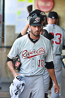 Matt Buschmann (10) of the Sacramento River Cats prior to the game against the Salt Lake Bees at Smith's Ballpark on June 6, 2014 in Salt Lake City, Utah.  (Stephen Smith/Four Seam Images)