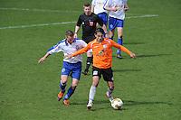 "VOETBAL: BALK: Voetbalcomplex ""de Wilgen"", 27-04-2013, KNVB 1ste Klasse E district Noord, VV Balk -VV Drachtster Boys, Einduitslag 1-2, Karst Geertsma (#6 | Balk),  Aziz Geyik (#18 | DB), ©foto Martin de Jong"