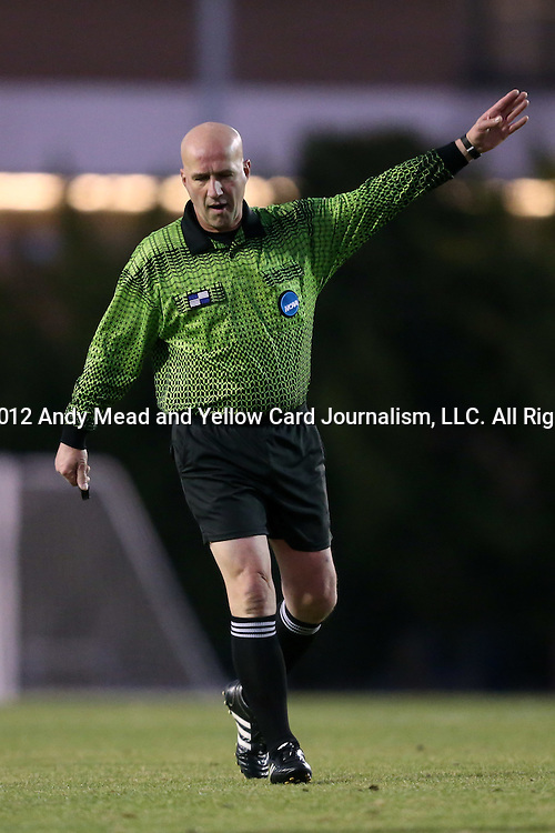 25 November 2012: Referee Peter Dhima. The University of North Carolina Tar Heels played the Farleigh Dickinson Knights at Fetzer Field in Chapel Hill, North Carolina in a 2012 NCAA Division I Men's Soccer Tournament third round game. UNC won the game 1-0 in overtime.
