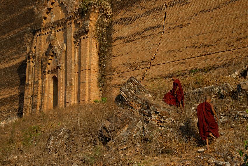 Mingun or Nan Oo Pagoda build by King Bodawlaya in 1791 in Mingun, Sagaing Mandalay, Myanmar/Burma