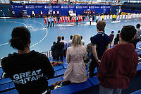 05 APR 2012 - LONDON, GBR - Spectators stand for the Tunisian and South Korean national anthems before the men's 2012 London Cup match at the National Sports Centre in Crystal Palace, Great Britain  (PHOTO (C) 2012 NIGEL FARROW)