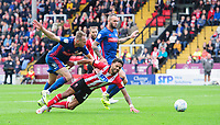 Lincoln City's Bruno Andrade is fouled by Sunderland's Laurens De Bock, winning a penalty <br /> <br /> Photographer Chris Vaughan/CameraSport<br /> <br /> The EFL Sky Bet League One - Lincoln City v Sunderland - Saturday 5th October 2019 - Sincil Bank - Lincoln<br /> <br /> World Copyright © 2019 CameraSport. All rights reserved. 43 Linden Ave. Countesthorpe. Leicester. England. LE8 5PG - Tel: +44 (0) 116 277 4147 - admin@camerasport.com - www.camerasport.com