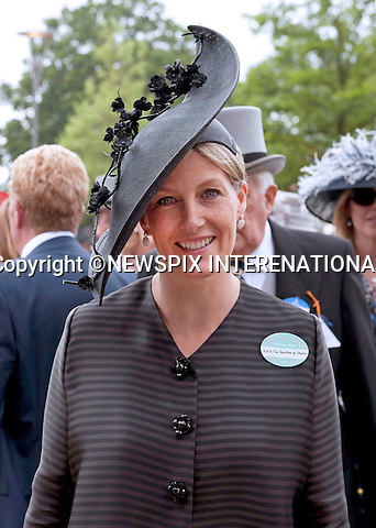 SOPHIE, COUNTESS OF WESSEX<br /> attends the fourth day of Royal Ascot 2013, Ascot Racecourse, Ascot_21/06/2013<br /> Mandatory Credit Photo: &copy;Robert Piper/NEWSPIX INTERNATIONAL<br /> <br /> **ALL FEES PAYABLE TO: &quot;NEWSPIX INTERNATIONAL&quot;**<br /> <br /> IMMEDIATE CONFIRMATION OF USAGE REQUIRED:<br /> Newspix International, 31 Chinnery Hill, Bishop's Stortford, ENGLAND CM23 3PS<br /> Tel:+441279 324672  ; Fax: +441279656877<br /> Mobile:  07775681153<br /> e-mail: info@newspixinternational.co.uk