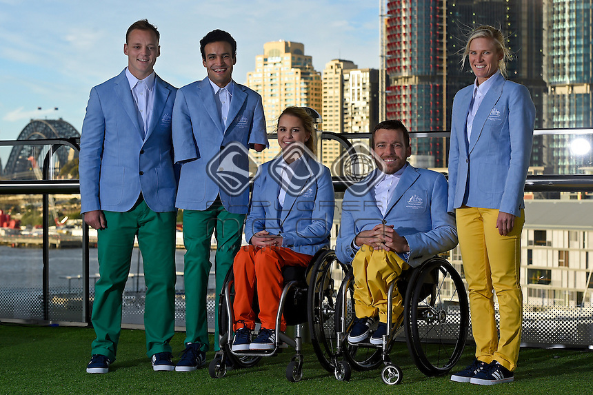 RM Williams Opening Ceremony outfit (L-R) Jayden Sawyer, Ahmed Kelly, Emma Booth, Kurt Fernley and  Kate Doughty, <br /> 2016 APC RIO Uniform Launch with the city of Sydney as the backdrop shot from the Star Casino<br /> Australian Paralympic Committee<br /> Star Casino / Sydney / NSW<br /> Monday 6 June 2016<br /> &copy; Sport the library / Jeff Crow